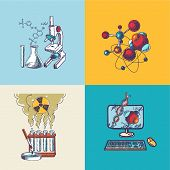Chemistry icon sketch composition