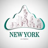 foto of babylon  - New york babylon city emblem with statue of liberty and skyscrapers vector illustration - JPG
