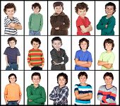 Collage of many images with the same child isolated on a white background