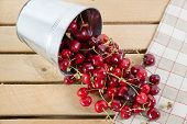 Cherries In A Small Metal Bucket Overturned