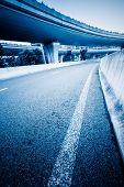 empty road, overpass of shanghai china. blue toned images.