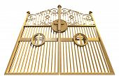 stock photo of glorious  - A concept image of the golden gates to heaven shut on an isolated white background - JPG
