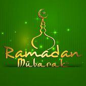 Stylish golden text Ramadan Mubarak with golden mosque on shiny green background for holy month of Muslim community Ramadan Mubarak celebrations.