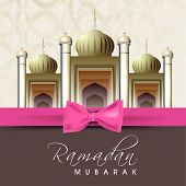 Shiny mosque with pink ribbon on abstract background for holy month of Muslim community Ramadan Kareem.