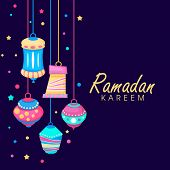Colorful hanging lanterns on shiny purple background with golden text Ramadan Kareem.