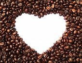 Frame In The Shape Of Heart From Coffee Beans