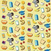 Seamless retro pixel breakfast pattern
