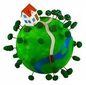 Little Green Planet With Toy House.