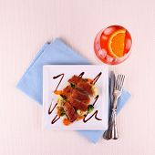 pic of duck breast  - Roasted duck breast vegetables orange aperitif top view - JPG