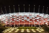 National Stadium In Warsaw At Night, Poland