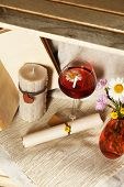 Beautiful still life with glass of wine