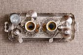 Traditional Ornate Metal Tray With Turkish Coffee