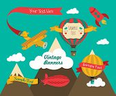 stock photo of propeller plane  - Set of Vintage Air Vehicles Banner Design with Retro Air Plane Aerostat and Air Balloons - JPG