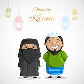 stock photo of dua  - vector illustration of muslim couple on Ramadan Kareem  - JPG
