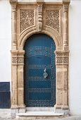 Ancient Blue Door With Decoration. Tangier, Morocco