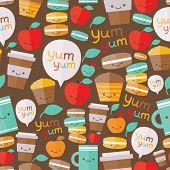 Cute food seamless pattern.