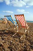 Deckchairs Beach Sea Windy
