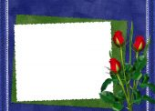 White Frame With Red Roses On The Darkblue Background