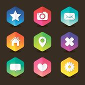 foto of home is where your heart is  - Colored web hexagon icon set with shadows for your design - JPG