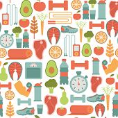 seamless pattern with healthy life icons
