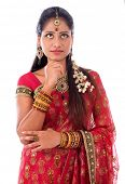 pic of sari  - Portrait of beautiful young Indian female in traditional sari dress thinking - JPG