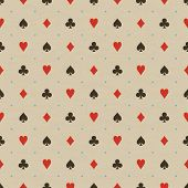 Card Suits Pattern In Beige