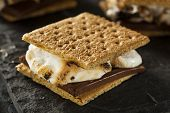 S'mores With Marshmallows Chocolate And Graham Crackers