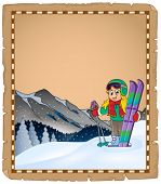 Parchment with winter sport theme 1 - eps10 vector illustration.