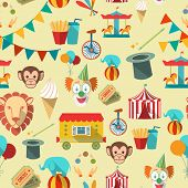 foto of tent  - Decorative vintage travelling circus chapiteau tent with clown magical wand seamless tileable wrap paper pattern vector illustration - JPG