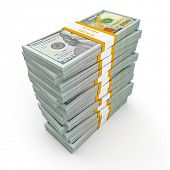 Creative business finance making money concept - stack of new new 100 US dollars 2013 edition bankno