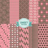 Set of sweet seamless patterns.