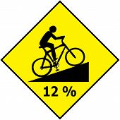 Bicycle Traffic Sign Show Uphill Slope Ratio Vector