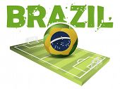 Text Brazil and a Sport filed with Soccer Ball