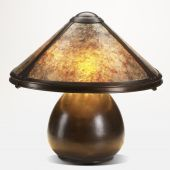 stock photo of mica  - copper and mica shade table lamp on white - JPG