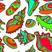 Colorful vibrant seamless seashell pattern