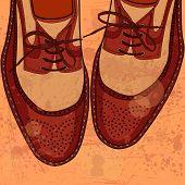 Shoes for men on grunge background - vector illustration