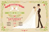 Vintage Wedding Invitation With Bride,groom,floral Frame