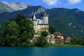 Medieval castle in an small island on Annecy lake france Savoy Saint Bernard