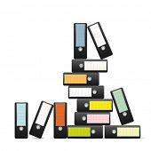 Pile of ring binders. Ring binders with colored labels piled up AI10 eps vector illustration.