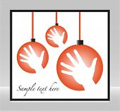 Christmas celebration hand baubles design with space for your text.