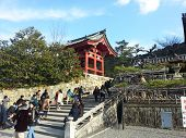 Tourists visit Koyomizu temple a famous tourist attraction in Kyoto