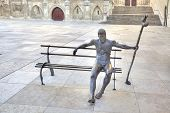 Burgos. Sculpture Pilgrim On The Way Of St. James