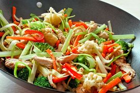 picture of chinese wok  - Mixed stir fry vegetables with chicken in a wok - JPG