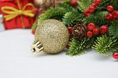 Christmas decorations with a gold sparkle bauble