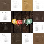 Calendar 2015 Retro Styled. Square composition