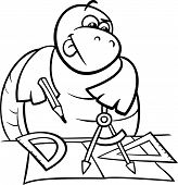 Turtle With Calipers Coloring Page