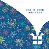Vector colorful doodle snowflakes Christmas gift box silhouette pattern frame card template