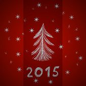 Festive red background with sketch digits 2015, snowflakes and christmas tree, hand-drawn illustrati
