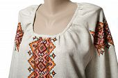 picture of chemise  - part of embroidered linen chemise on a mannequin - JPG