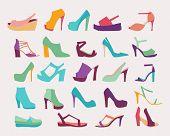 picture of platform shoes  - A set of elegant High Heels Women Shoes Flat icons set - JPG